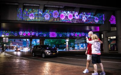 Government Center Garage underpass illuminated with flowers